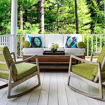 Donna Piskun Design - porches - rocking chairs, patio rockers,  Fantastic porch design with mod-century modern rocking chairs upholstered in