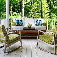 Donna Piskun Design - porches - green, mid-century modern, rocking chairs, white, outdoor, sofa, turquoise, blue, green, pillows, wraparound, porch,