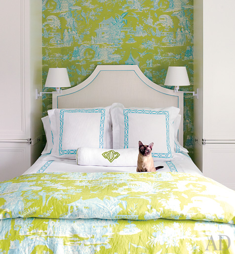 Architectural Digest - bedrooms - chinoiserie, white, headboard, white, hotel bedding, turquoise, blue, stitching, blue, green, toile, wallpaper, blanket, polished nickel, sconces,