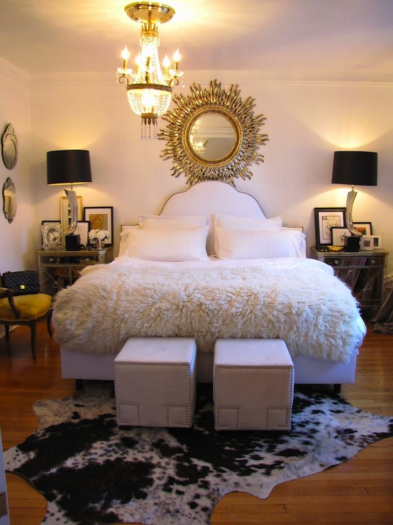 Heights of Fashion - bedrooms - JCP Canvas Nailhead Trim Cube Ottoman, Borghese Mirrored Nightstands, greek key ottomans, cube ottomans, white cube ottomans, greek key cube ottomans, cowhide rug, nailhead headboard, white headboard, mirrored nightstands, black lamp shades,