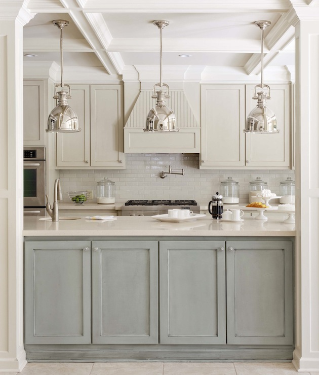 Tobi Fairley - kitchens - Yoke Pendant with Large Shade, coffered ceiling, Walker Zanger, glossy, subway tiles, backsplash, ivory, shaker, kitchen cabinets, gray, green, faux finish, kitchen island, pot filler,