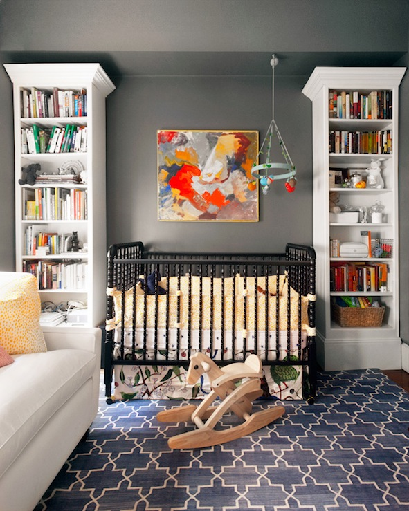 Erin Gates Design - nurseries - Farrow and Ball - Down Pipe - Madeline Weinrib Indigo Brooke Rug, Dream On Me Jenny Lind Classic Crib - Black, Blabla Multi-Birds Mobile, gray walls, gray paint, gray paint colors, charcoal gray walls, charcoal gray paint, charcoal gray paint color, charcoal gray nursery walls, charcoal gray nursery paint, charcoal gray paint color, nursery sofa, nursery couch, couch in nursery, sofa in nursery, black crib, black nursery crib, jenny lind crib, black jenny lind crib, nursery bookcase, trellis rug, indigo blue rug, blue trellis rug, blabla mobile,