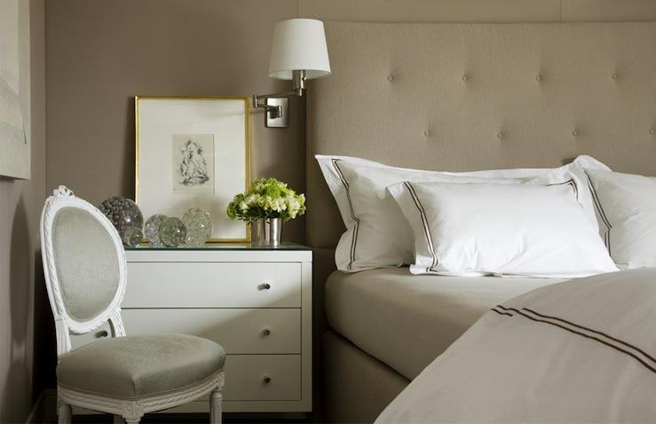Beige tufted headboard transitional bedroom charles - Beige walls bedroom ideas ...