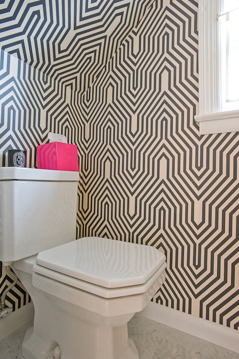 Donna Piskun Design - bathrooms - Minaret Wallpaper, geometric wallpaper, black geometric wallpaper, white and black geometric wallpaper, minaret wallpaper, hot pink accents, hot pink bathroom accents, pink accents, pink bathroom accents,