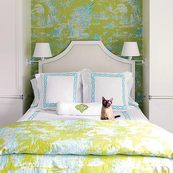 Architectural Digest - bedrooms - chinoiserie bedroom, chinoiserie wallpaper, chinoiserie bedding, chinoiserie duvet, lattice bedding, turquoise lattice bedding, lattice shams, turquoise lattice shams, monogrammed bolster pillow,