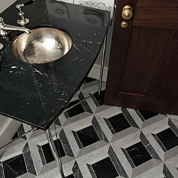 Carole Freehauf - bathrooms - polished chrome washstand, cherry door, black and white tile, black and white tiled floor, black and white bathroom floor, hammered sink, hammered metal sink, hammered vanity sink, black countertops,