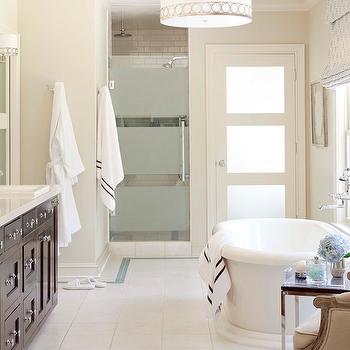 Frsoetd Glass Shower Door, Transitional, bathroom, Sherwin Williams Wool Skein, Tobi Fairley
