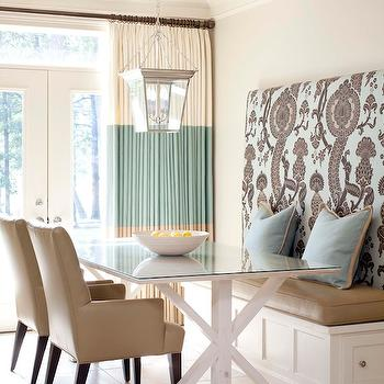 Tobi Fairley - dining rooms - dining bench, built in dining bench, cornice hanging lantern, beige dining chairs, glass top dining table x base dining table, white x base table, two tone curtains, Circa Lighting Small Cornice Hanging Lantern, F Schumacher Shalkar - Sepia,