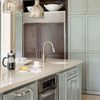 Kitchen Cabinets with Gray Glaze, Transitional, Kitchen, Sherwin Williams Chatroom, Tobi Fairley