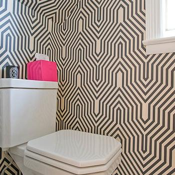 Donna Piskun Design - bathrooms - geometric wallpaper, black geometric wallpaper, white and black geometric wallpaper, minaret wallpaper, hot pink accents, hot pink bathroom accents, pink accents, pink bathroom accents, Minaret Wallpaper,