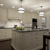 Carole Freehauf - kitchens - white cabinets with gray countertops, white kitchen cabinets with gray countertops, ivory cabinets, ivory kitchen cabinets, Restoration Hardware Clemson Pendant,
