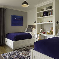 Artistic Designs for Living - boy's rooms - cobalt blue, cobalt blue boys room, cobalt blue blankets, cobalt blue and gray boys room, storage bed, white storage bed twin storage bed, built in desk, shared boys room, shared boys bedroom, desk as nightstand,