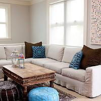 Donna Piskun Design - living rooms - sectional, sectional sofa, white sectional, white sectional sofa, slipcovered sectional, slipcovered sectional sofa, white slipcovered sectional, white slipcovered sectional sofa, brown and blue living room, brown and turquoise living room,