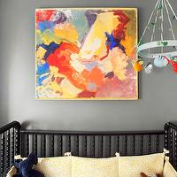 Erin Gates Design - nurseries: gray, walls, abstract, canvas, painting, art, jenny lind crib, black jenny lind crib,  Gorgeous boy's nursery