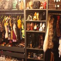Heights of Fashion - closets - walk-in, orange, boxes, accessories, drawers, bag, purse, cubbies, shoe shelves, walk in closet, walk in closet shelves, walk in closet shelving, built-in shelves, built-in shelving, built in closet shelves, built in closet shelving, closet system, walk in closet system,