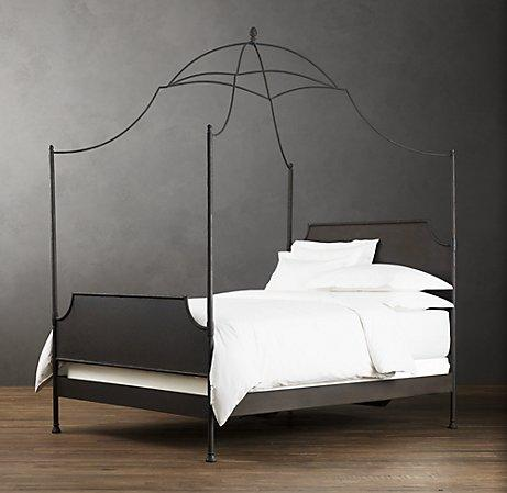 19th c campaign iron canopy bed restoration hardware