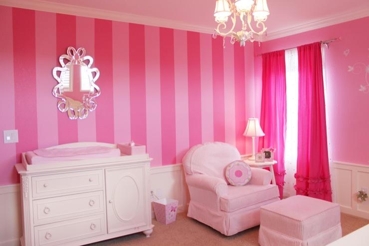 pink drapes traditional nursery