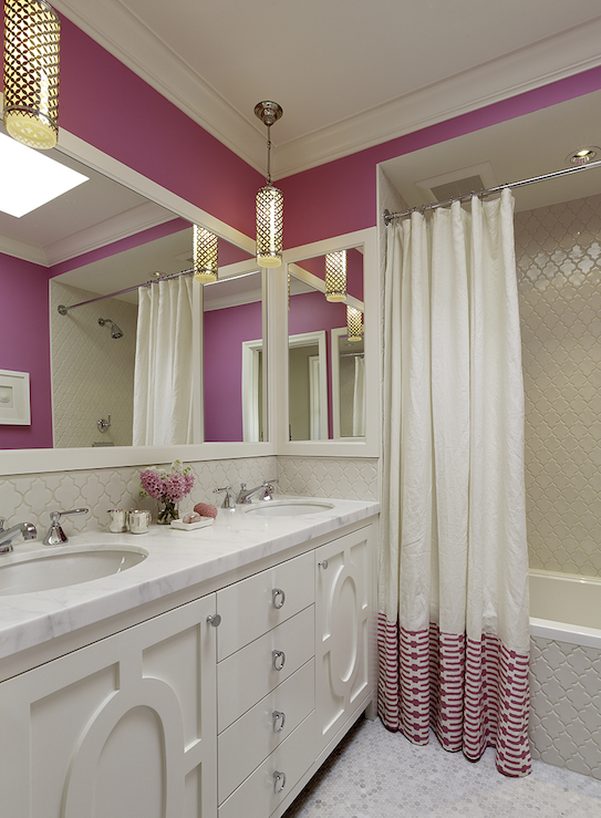 Suzie: Artistic Designs for Living - Fuchsia walls paint color, white & pink shower curtain, ...