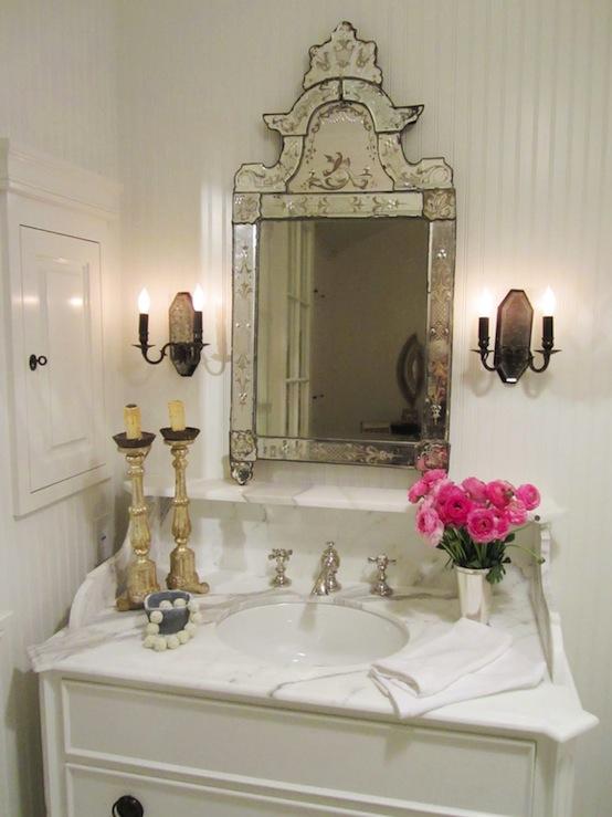 White Beadboard Bathroom Transitional Bathroom