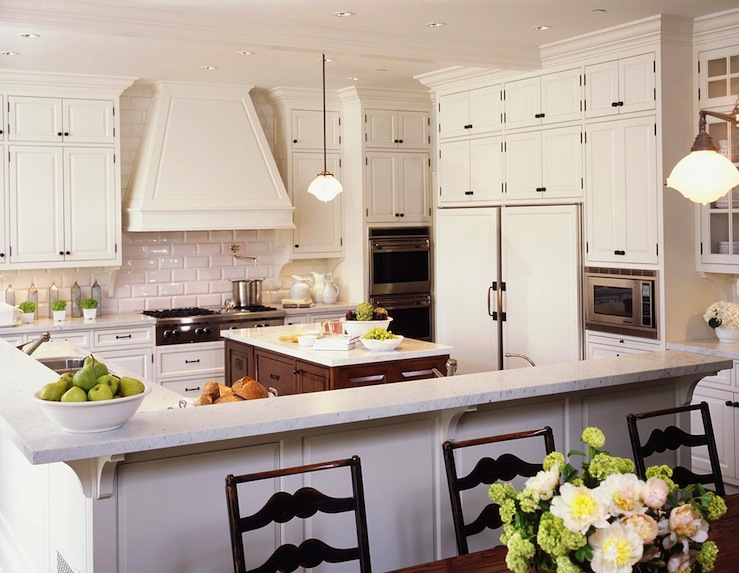 Alexandra Angle Interior Design - kitchens - beveled subway tile, beveled subway tile backsplash, beveled subway tiled kitchen, white kitchen cabinets, paneled range hood,
