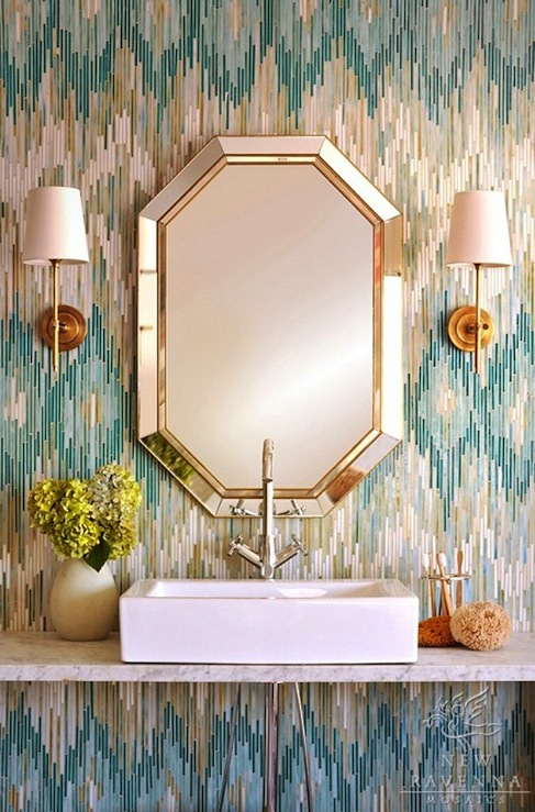New Ravenna Mosaics - bathrooms - New Ravenna Loom Jewel Glass Mosaic Quartz, Aquamarine, Tanzanite, Turquoise, Donnabella Mirror, Bryant Sconce, octagon, mirror, gold, sconces, marble, floating, bathroom vanity, rectangular, sink, gooseneck, faucet, glam powder room, glamorous powder room,