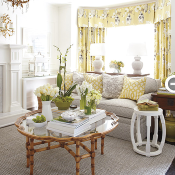Style at Home - living rooms - window treatments, gray and yellow curtains, gray and yellow drapes, gray and yellow window panels, yellow and gray curtains, yellow and gray drapes, yellow and gray window panels, gray and yellow curtains, gray and yellow drapes, gray and yellow window panels, yellow and gray design, yellow and gray interior design, gray and yellow design, gray and yellow interior design, faux bamboo coffee table, bamboo coffee table, gray sofa, quadrille fabrics, bay window, Quadrille Java Java Fabric,