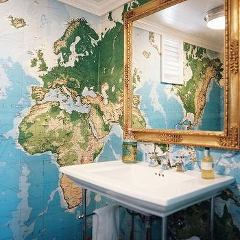 Lonny Magazine - bathrooms - gold, ornate, mirror, world map wallpaper, gold mirror, , Kohler Strela Sink, EGI World Map,  David Flint Wood -