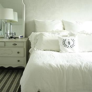 In the Fun Lane - bedrooms - monochromatic bedroom, cottage bedroom, cottage bedroom design, cottage bedroom ideas, french chest, white french chest, arch mirror, white arch mirror,