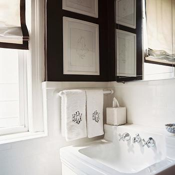Black and White Powder Room, Transitional, bathroom, Lonny Magazine
