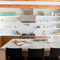Alice Lane Home - kitchens - exposed wood beams, honey, kitchen island, kitchen cabinets, sink in kitchen island, white, quartz, countertops, pot filler, mosaic, tiles, backsplash, gooseneck, faucet,