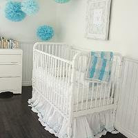 In the Fun Lane - bedrooms - white, vintage, crib, beadboard, white, baroque, frame, blue, green, pom poms, espresso, stained, wood floors,