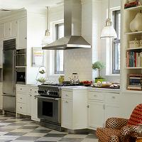 Carter & Company Interior Design - kitchens - checkered floor, checkered kitchen floor,  Open kitchen design with black & white checkered tiles