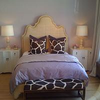 Alice Lane Home - girl's rooms - burlap headboard, nailhead headboard, burlap nailhead headboard, giraffe pillows, purple bedding, purple duvet, jackson chest of drawers, white nightstands, giraffe bench, baluster lamps, Ingrid Bed with Raffia, Oly Studio Jackson Chest of Drawers,