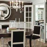 Carter & Company Interior Design - dining rooms - square back, French, dining chairs, oval, dining table, acrylic, chandelier, chocolate, brown, wallpaper, French doors, wainscoting, dining room wainscoting, wainscoted walls, dining room wainscoted walls,