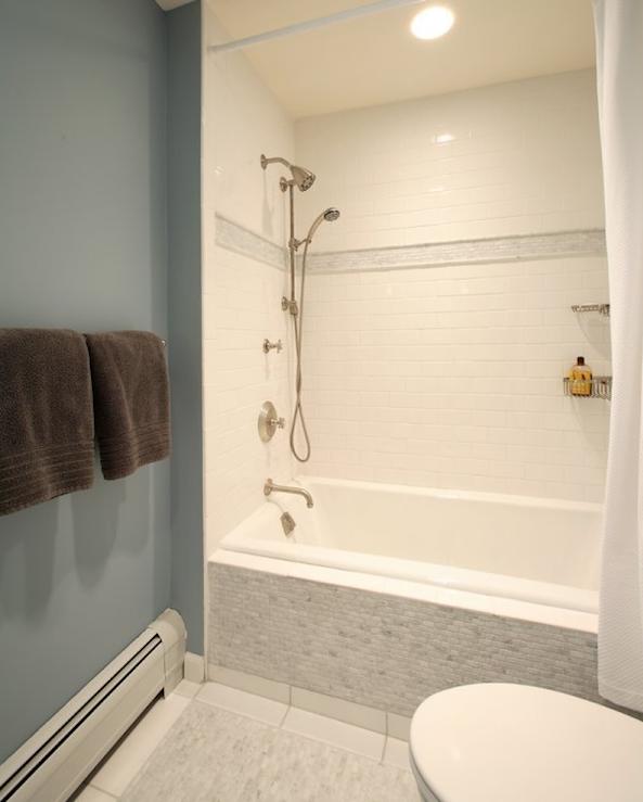 Drop in shower ideas transitional bathroom olga for Chocolate brown and blue bathroom ideas