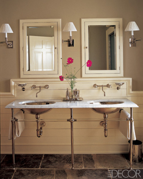 Taupe Bathroom - Contemporary - bathroom - Elle Decor