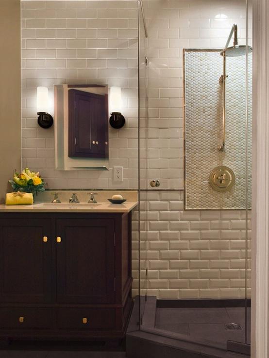 Beveled Subway Tile, Transitional, bathroom