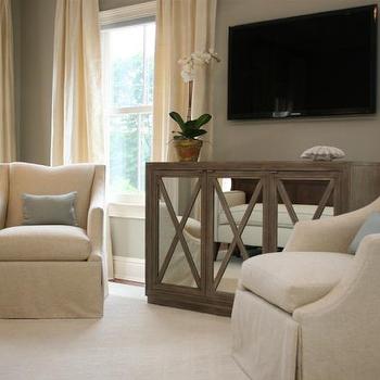 Mirrored Media Cabinet Eclectic Living Room Atlanta