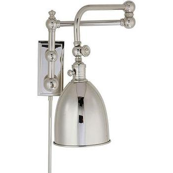 Lighting - Lighting New York | Visual Comfort Chart House Pimlico Double Swing-Arm in Polished Nickel with Polished Nickel Shade CHD2150PN-PN - swing arm, sconce
