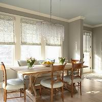 Martha O&#039;Hara Interiors - dining rooms - gray, walls, trestle, dining table, gray, linen, settee, ivory, blue, damask, roman shades, bubble, crystal, chandelier, gray walls, grey walls, gray paint, grey paint, gray paint color, grey paint color, gray wall paint, grey wall paint, gray dining room walls, grey dining room walls, gray dining room paint, grey dining room paint, gray dining room paint color, grey dining room paint color, Benjamin Moore Northern Cliffs,