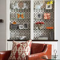 Martha O&#039;Hara Interiors - living rooms - gray, walls, orange, leather, chair, nailhead trim, white, built-in cabinets, built-ins, living room built-ins, white built-ins, white built-in cabinets, built-in bookcase, living room bookcase, lined built ins, lined built in cabinets, lined built in bookcase, Kelly Wearstler Imperial Trellis Wallpaper - Charcoal,