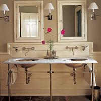 Elle Decor - bathrooms - marble, double, washstands, polished nickel, base, paneled walls, wall-mount, faucets, taupe, walls, ivory, medicine cabinets, mirrors, polished nickel, sconces, taupe paint, taupe paint colors, taupe paint color, taupe walls, taupe bathrooms,