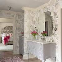 Martha O'Hara Interiors - bathrooms - gray vanity, gray bathroom vanity, frameless mirror, gray washstand, gray cabinets, gray bathroom cabinets, wallpaper in bathroom, bathroom wallpaper,