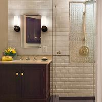 bathrooms - beveled subway tile, beveled subway tile shower, beveled subway tile shower surround, beveled subway shower surround, mosaic tiled shower,