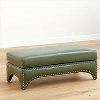 Seating - Winston Bonded Leather Ottoman | Living Room Furniture| Furniture | World Market - green, tufted, nailhead trim, winston, leather, bench, ottoman