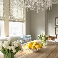 Martha O&#039;Hara Interiors - dining rooms - reclaimed, wood, trestle, dining table, ivory, blue, damask, roman shade, gray, walls, gray, linen, settee, bubbles, crystal, chandelier, gray walls, grey walls, gray paint, grey paint, gray paint color, grey paint color, gray wall paint, grey wall paint, gray dining room walls, grey dining room walls, gray dining room paint, grey dining room paint, gray dining room paint color, grey dining room paint color, Benjamin Moore Northern Cliffs,