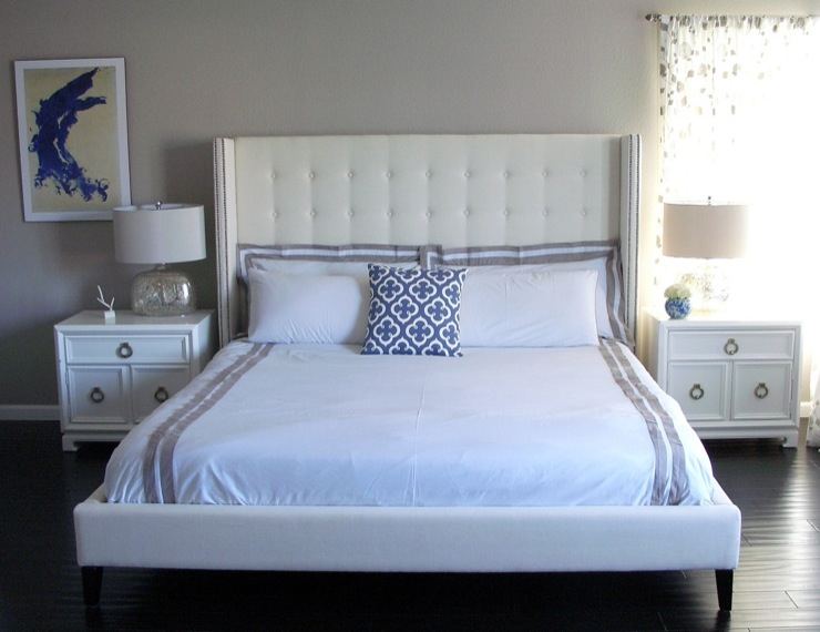 White Tufted Wingback Headboard Contemporary Bedroom