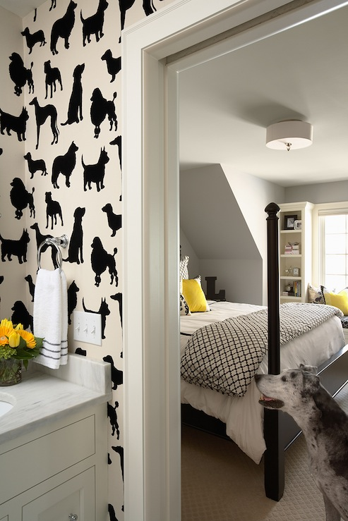 Martha O&#039;Hara Interiors - boy&#039;s rooms - gray, walls, black, poster, bed, white, black, quatrefoil, moorish tiles, duvet, shams, yellow, pillows, built-in, window seat, drum, pendant, dogs, wallpaper, white, bathroom cabinet, marble, countertop,