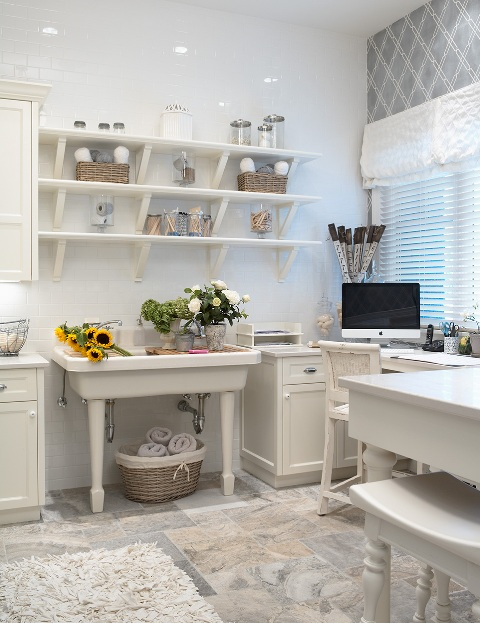 Martha O'Hara Interiors - dens/libraries/offices - Benjamin Moore - White Dove - craft room, craft room design, craft room ideas, utility sink, craft room shelve, s craft room shelving, craft room desk, built in desk,