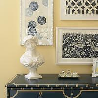 Martha O'Hara Interiors - entrances/foyers - yellow and blue foyer, foyer, blue chest, blue foyer chest, framed fabric, framed fabric art,  Gorgeous,